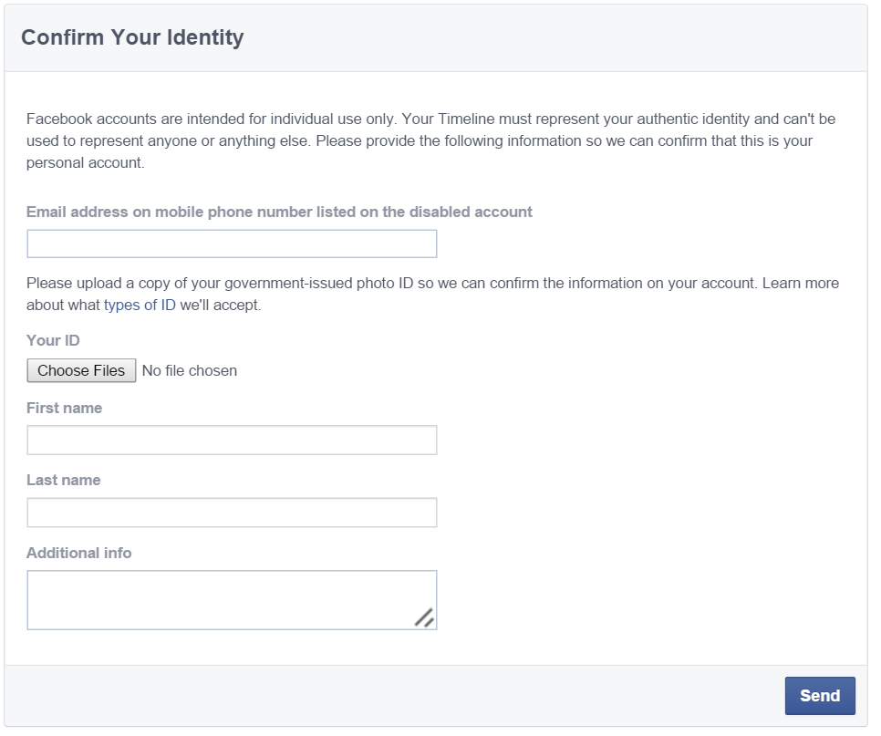 Facebook Identity Confirmation