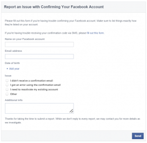 Report an Issue with Confirming Your Facebook Account